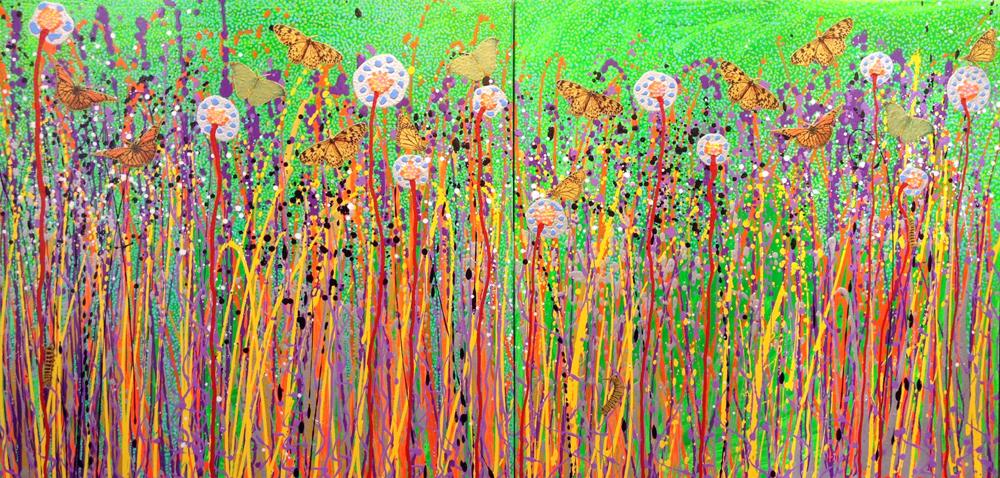 kunst maleri abstrakt sommerfugle katja bjergby