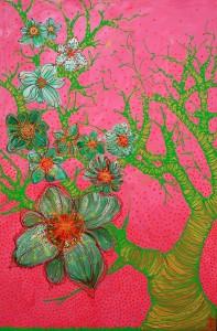 kunstmaleri blomstertrae
