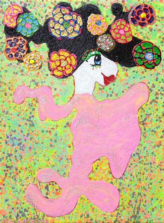 kunst maleri katja bjergby blomster dame
