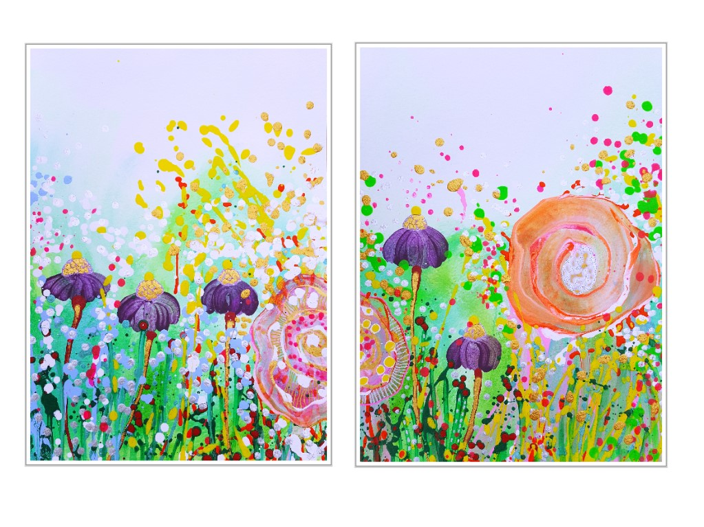 painting colorful flowers maleri farverig blomster natur nature pink 2