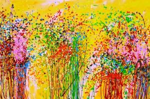 akryl maleri med natur 1 stort