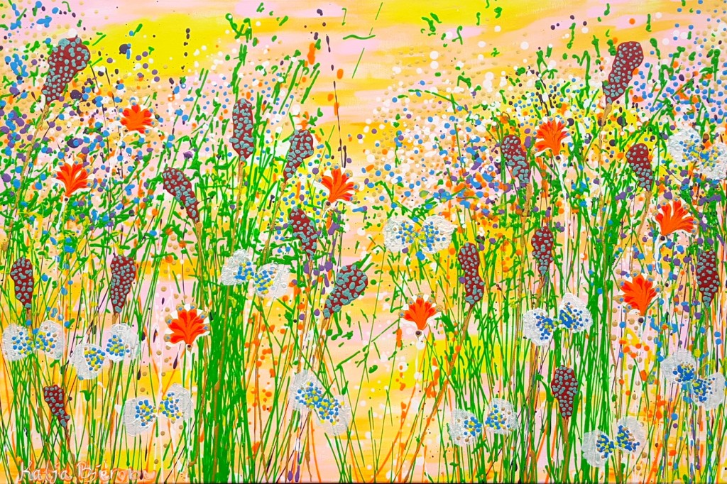 butterfly sommerfugl abstract art painting colorful flowers maleri farverig blomster natur nature