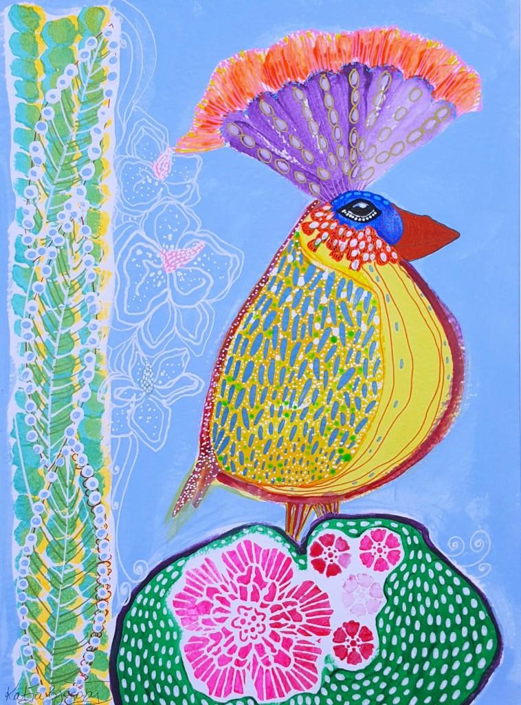 acrylic painting maleri farverig fulgl