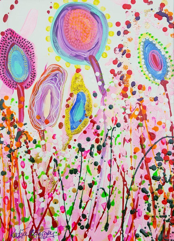 painting, maleri natur, blomster, flower