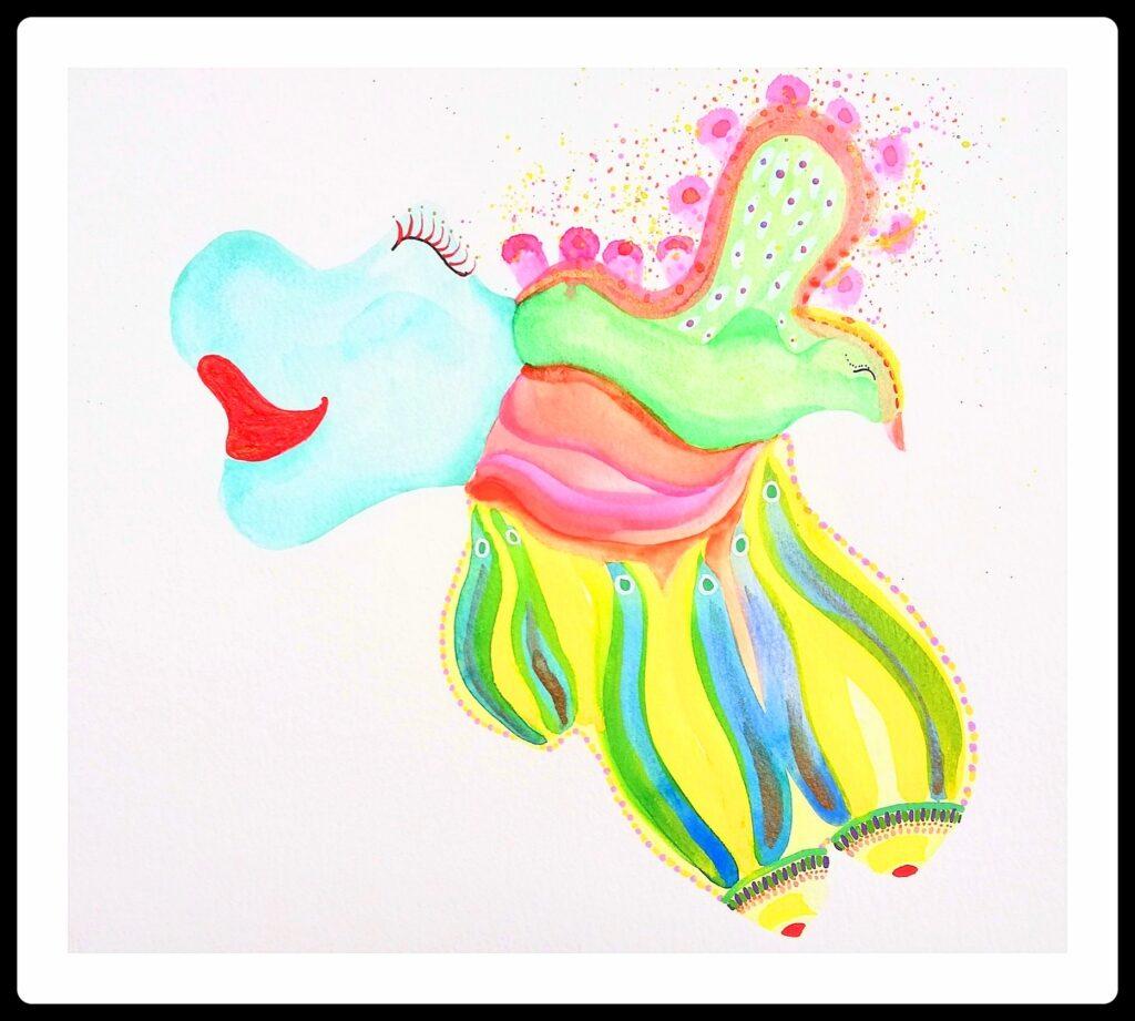 colorful watercolour painting joy